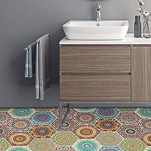 50Pcs Bohemian Hexagon Non-Slip Floor Sticker Wall Paper Peel and Stick for Kitchen Bathroom DIY Living Room Floor Waterproof Backsplash Tile Stickers for Home Decor 7.9x9.1inch(20 x 23cm)-Green Red