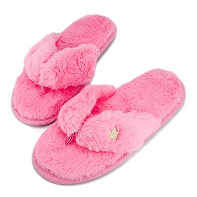 3b8f1a51b10 Super Fuzzy Warm Flip Flops Pink Ladies Comfy Lightweight House Slippers  Memory Foam Indoor Home Shoes
