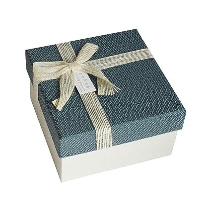 Emartbuy R/ígido Lujo Caja de Regalo de Presentaci/ón en Forma de Coraz/ón 16 x 14 x 6 cm Caja Blanca Texturizada Con Tapa Azul Lunares Interiores y Cinta de Lazo de Sat/én