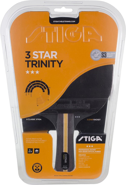 Stiga 3-Star Trinity, Concave Raqueta de Ping Pong, Negro/Rojo, Talla única