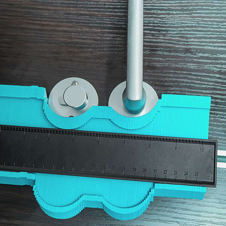 10 inch with Aluminum core, Green 10 Inch Contour Gauge Irregular Profile Gauge Duplicator Tiling Laminate Tiles Edge Shaping Wood Measure Ruler Plastic Woodworking Tools