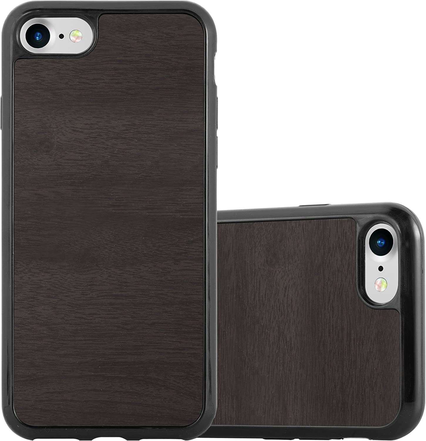 Cadorabo Case Compatible with Apple iPhone 7 / iPhone 7S / iPhone 8 in Wooden Black - Shockproof and Scratch Resistant TPU Silicone Cover - Ultra Slim Protective Gel Shell Bumper Back Skin