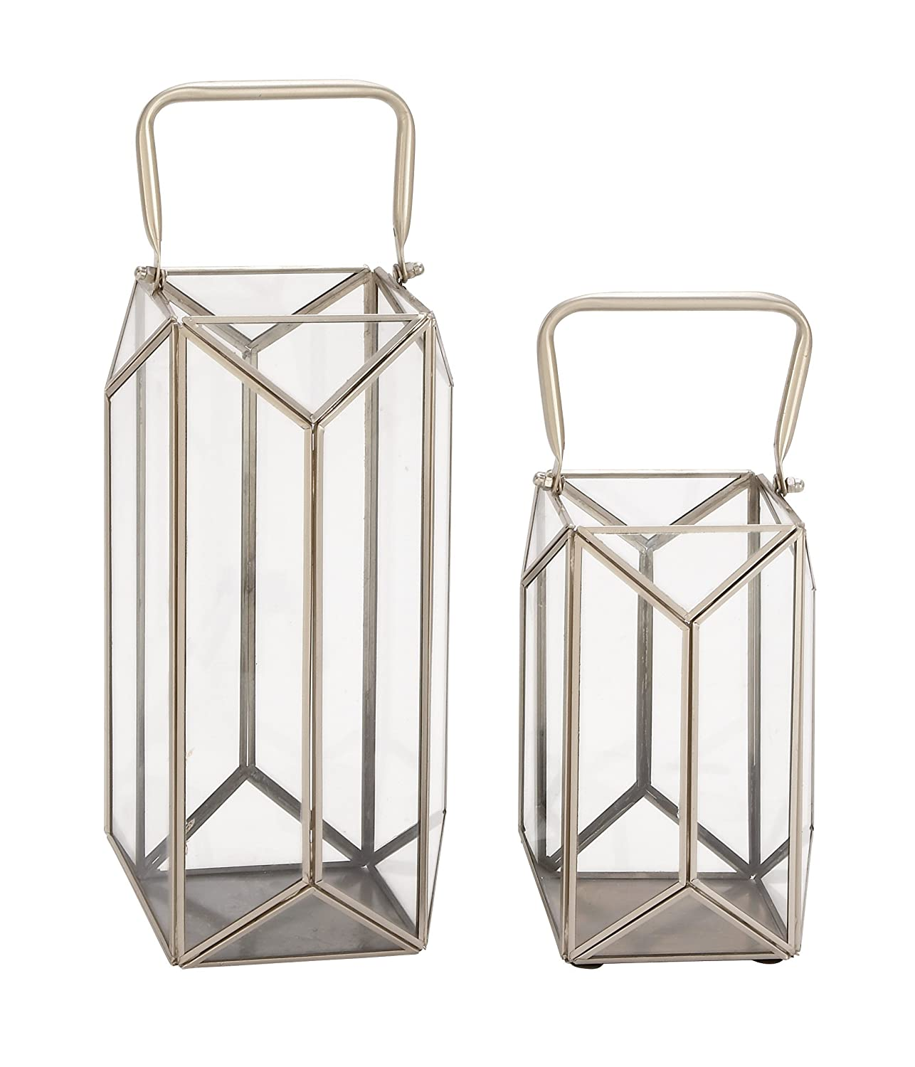 12 x 16 Silver//Clear Deco 79 54244 Trapezoidal Iron and Glass Lanterns Set of 2