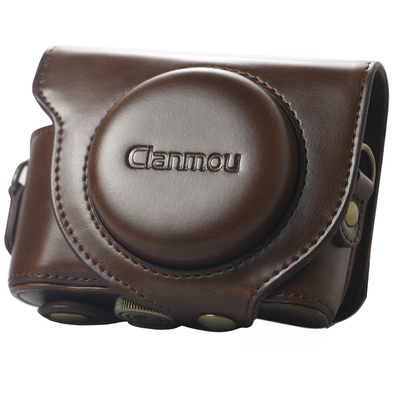Clanmou DSC-HX99 HX95 HX90 WX500 Leather Camera Case Bag Compatible Sony Cyber-shot DSC- HX80 Digital Camera with Camera Shoulder Strap Dark Brown GOCA30