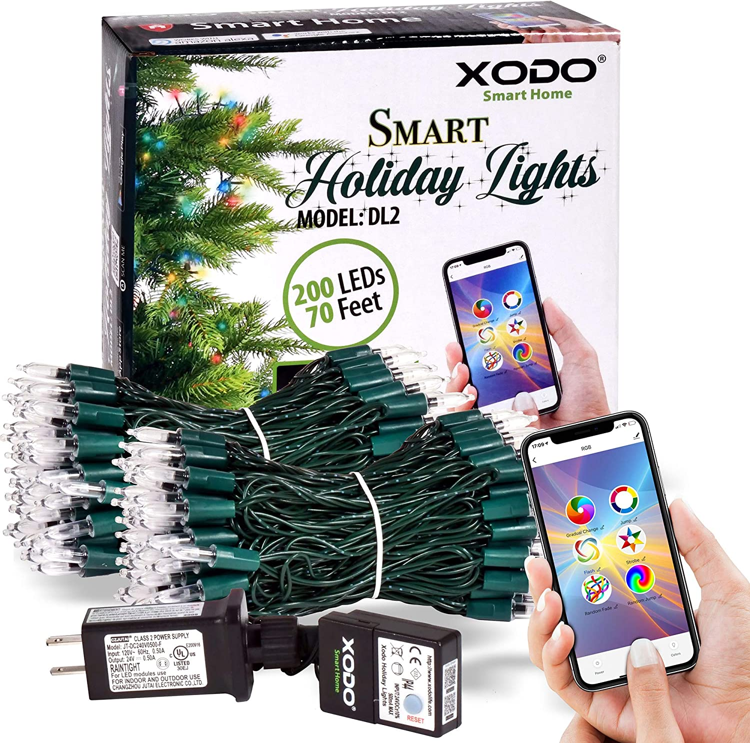 XODO DL1 Indoor/Outdoor WiFi RGB String Lights 35ft 100LED, Smart Controlled by App, Infinite Color String Lights for Christmas Tree Or Around House, Works with Alexa, Google Home, Siri (35ft)