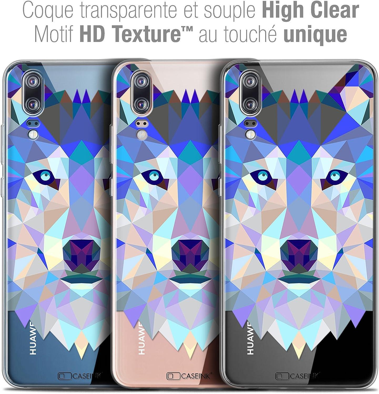 Caseink Coque Pour Huawei P20 58 Housse Etui Crystal Gel Hd Polygon Series Animal Souple Ultra Fin Imprimé En France Loup