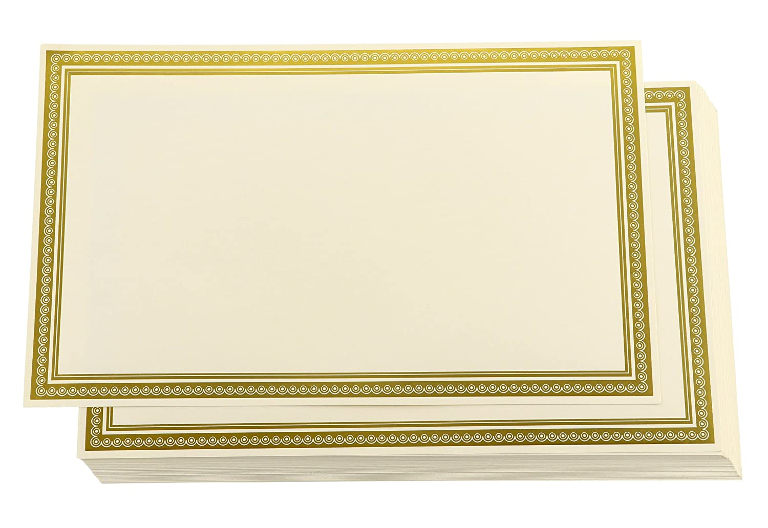 Award Certificates - 36-Pack Blank Plain Ivory Paper Sheets with Gold Foiled Metallic Border, Laser and Inkjet Printer Compatible, Legal Size, 8.5 x 14 inches Juvale