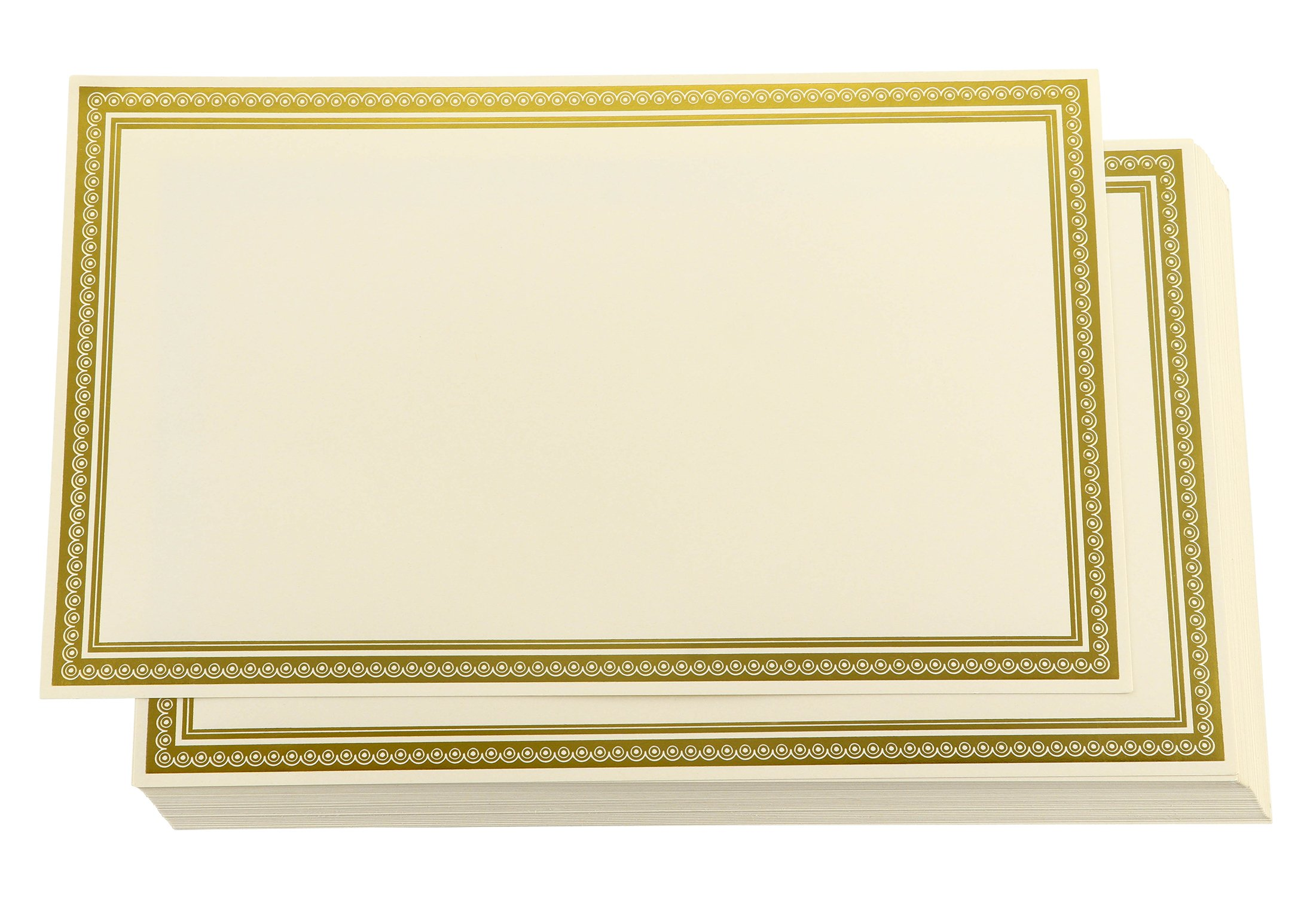 Award Certificates - 36-Pack Blank Plain Ivory Paper Sheets with Gold Foiled Metallic Border, Laser and Inkjet Printer Compatible, Legal Size, 8.5 x 14 inches