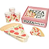 Pizza Party Supplies Kit, Includes Plates, Napkins and Cups (Serves 24 Guests)