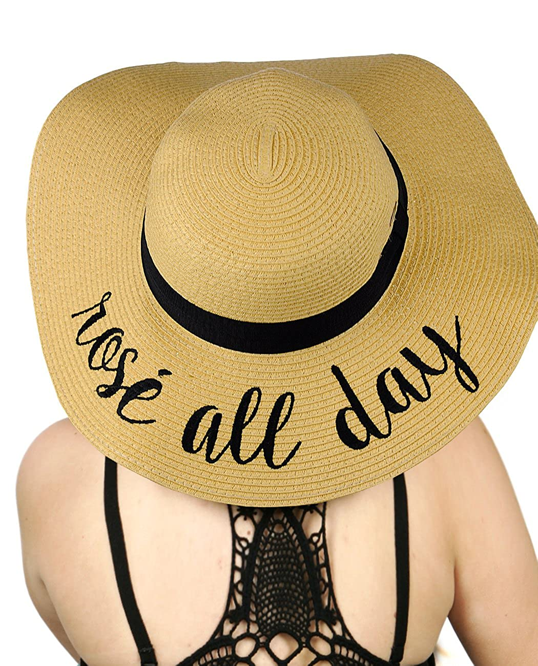 C& C Women's Paper Weaved Crushable Beach Embroidered Quote Floppy Brim Sun Hat, Rosé All Day Rosé All Day C.C ST2017-ROSE ALL DAY