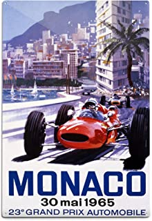 product image for Lantern Press France, Monaco, 23e Grand Prix Automobile, (Artist: Turner c. 1965), Vintage Advertisement (12x18 Aluminum Wall Sign, Wall Decor Ready to Hang)