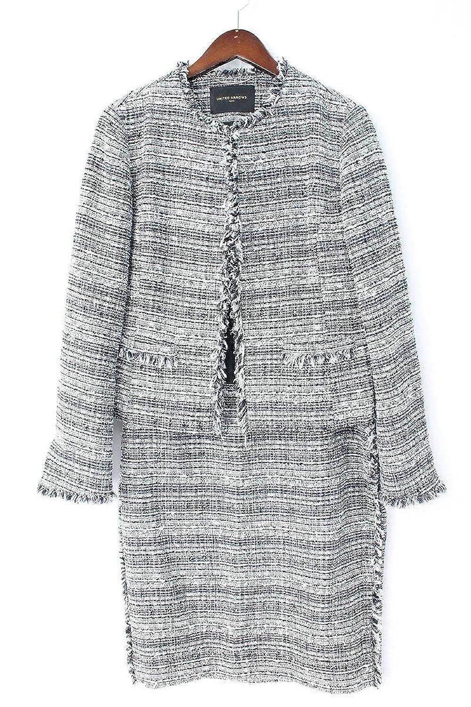 (ユナイテッドアローズ) UNITED ARROWS ノーカラーツイードジャケットスカートセットアップスーツ(38/ブラック×ホワイト) 中古 B07FMNN49R  -