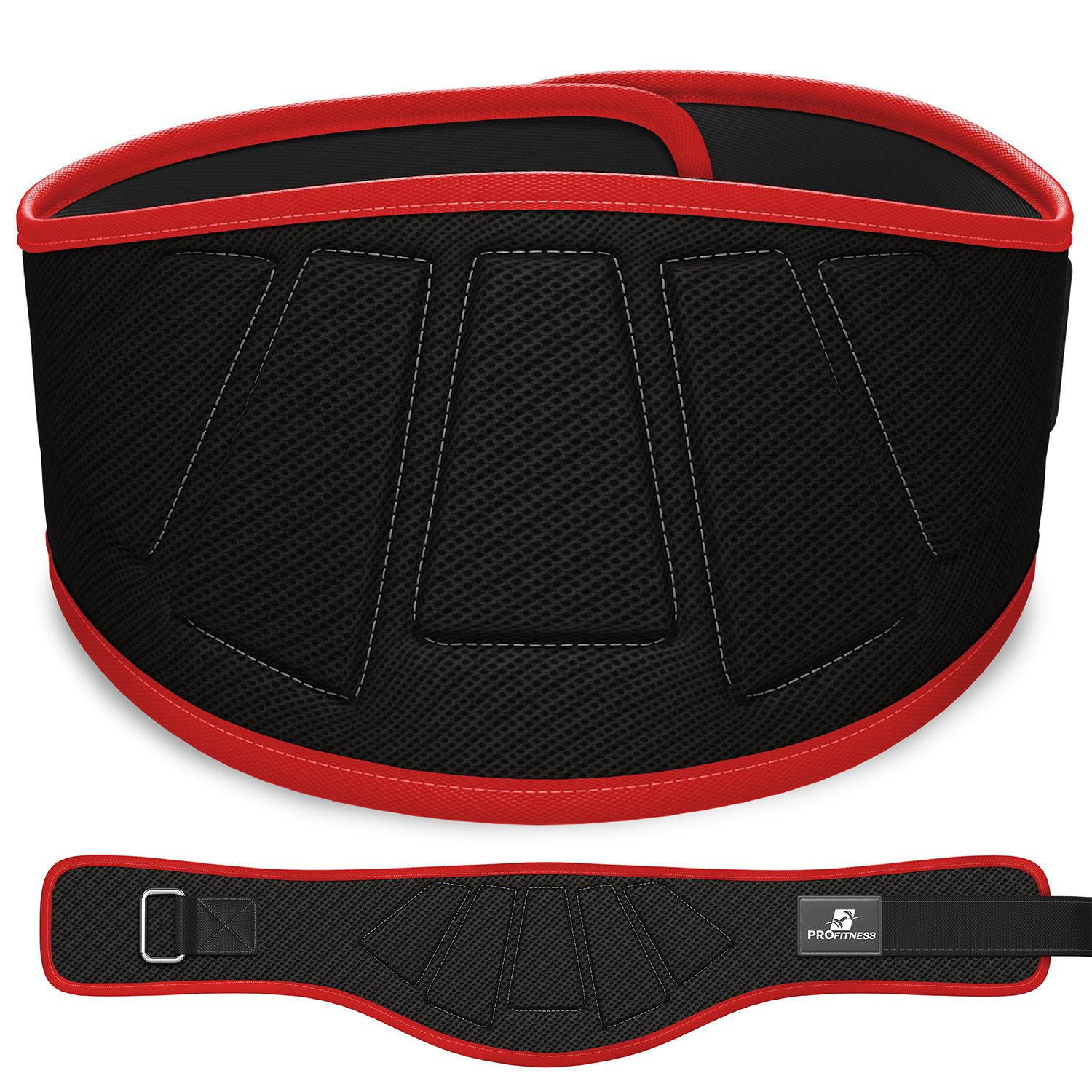 ProFitness Weightlifting Belt (6-Inch-Wide) - Proper Weight lifting Form - Unisex Back Support for Cross Training Exercises, Powerlifting Workouts (Black/Red, Small)