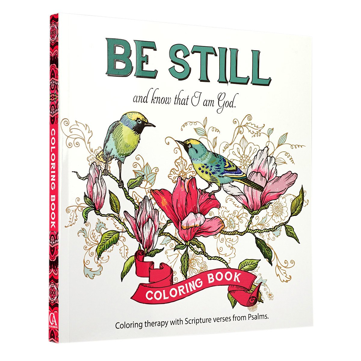 amazoncom be still inspirational adult coloring therapy featuring psalms 9781432114893 christian art publishers books