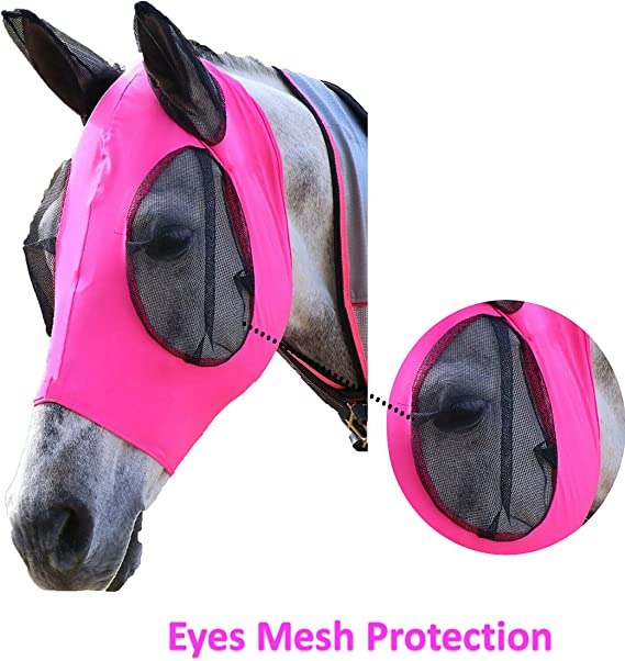 Euroriding Fly Mask with Ears Fly Hood Fly Protection Zebra Black White