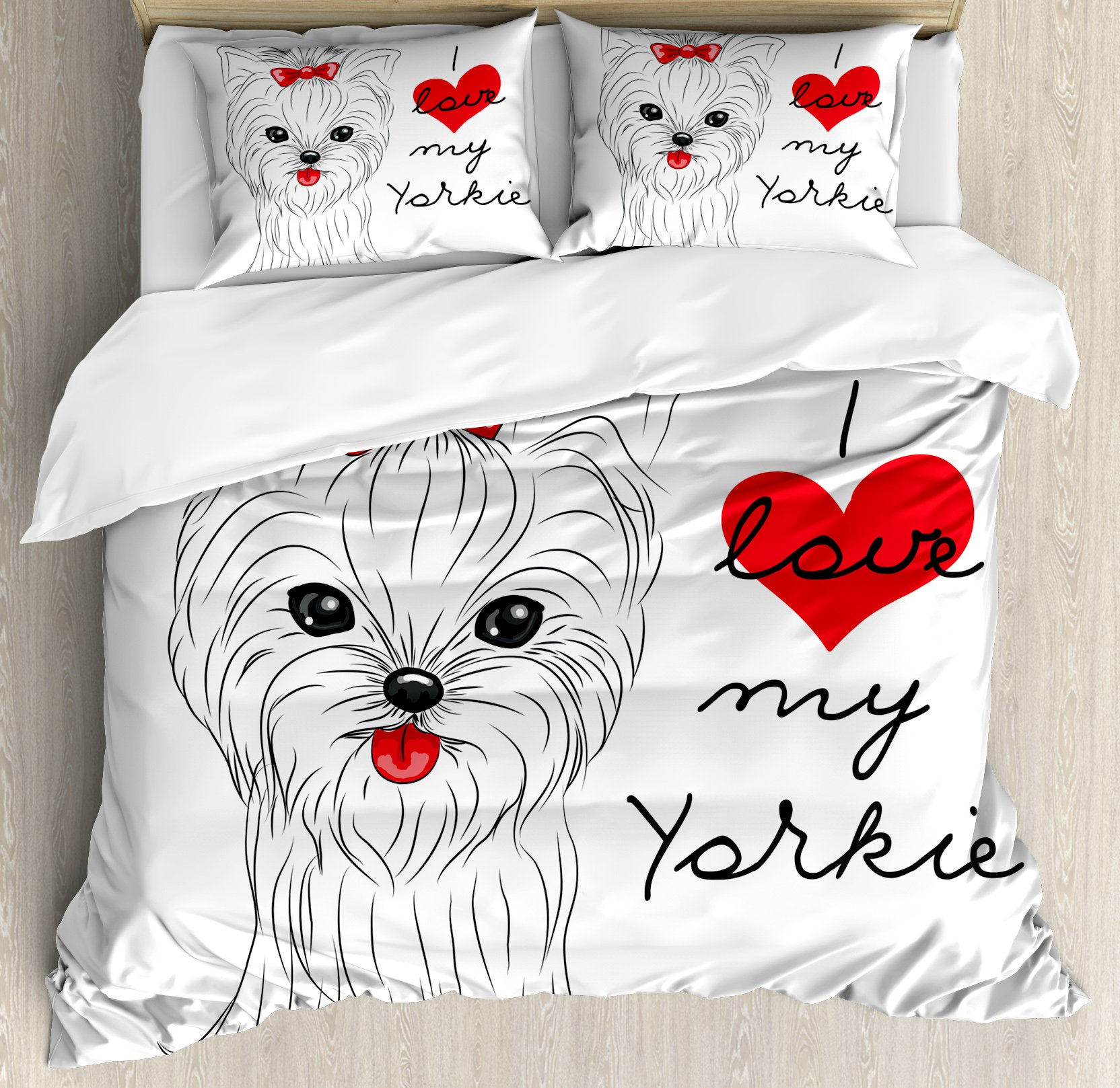 Yorkie Duvet Cover Set Queen Size by Ambesonne, I Love My Yorkie Cute Terrier with its Tounge Out Adorable Yorkshire Terrier, Decorative 3 Piece Bedding Set with 2 Pillow Shams, Black White Red