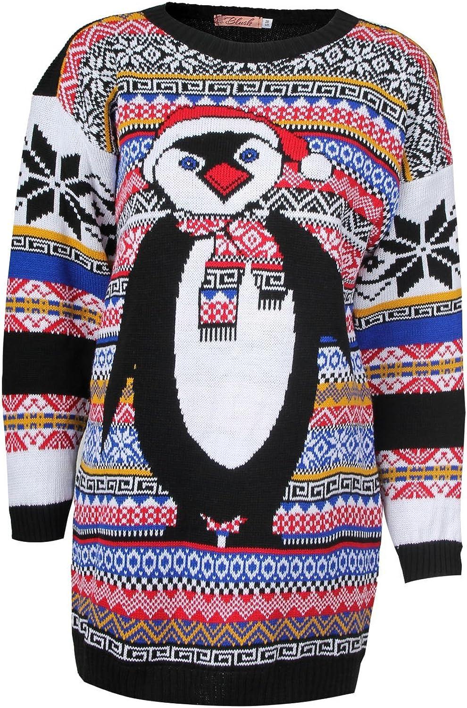 Forever Women's Aztec Penguin And Meerkat Print Neon Merry Christmas Jumper