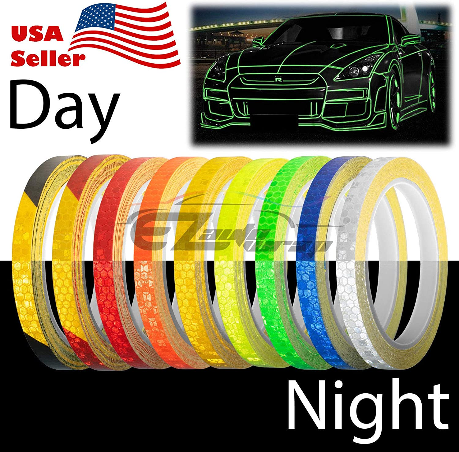 EZAUTOWRAP Red Golden Yellow Reflective Tape Safety Self Adhesive Striping Sticker Decal 26FT Roll 1CM