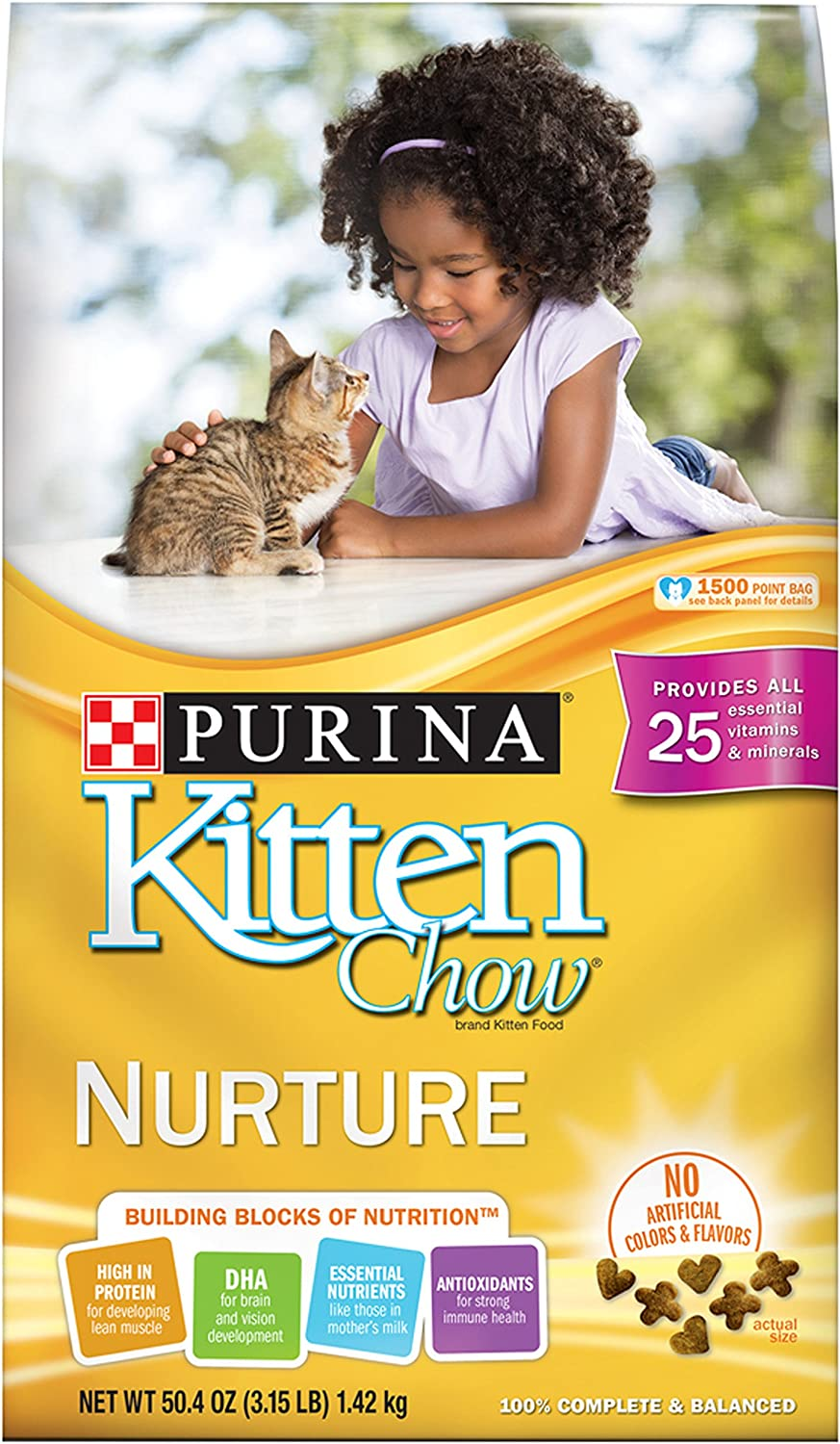 Amazon Com Purina Kitten Chow Dry Kitten Food Nurture 3 15 Pound Bag Pack Of 6 Dry Pet Food Pet Supplies