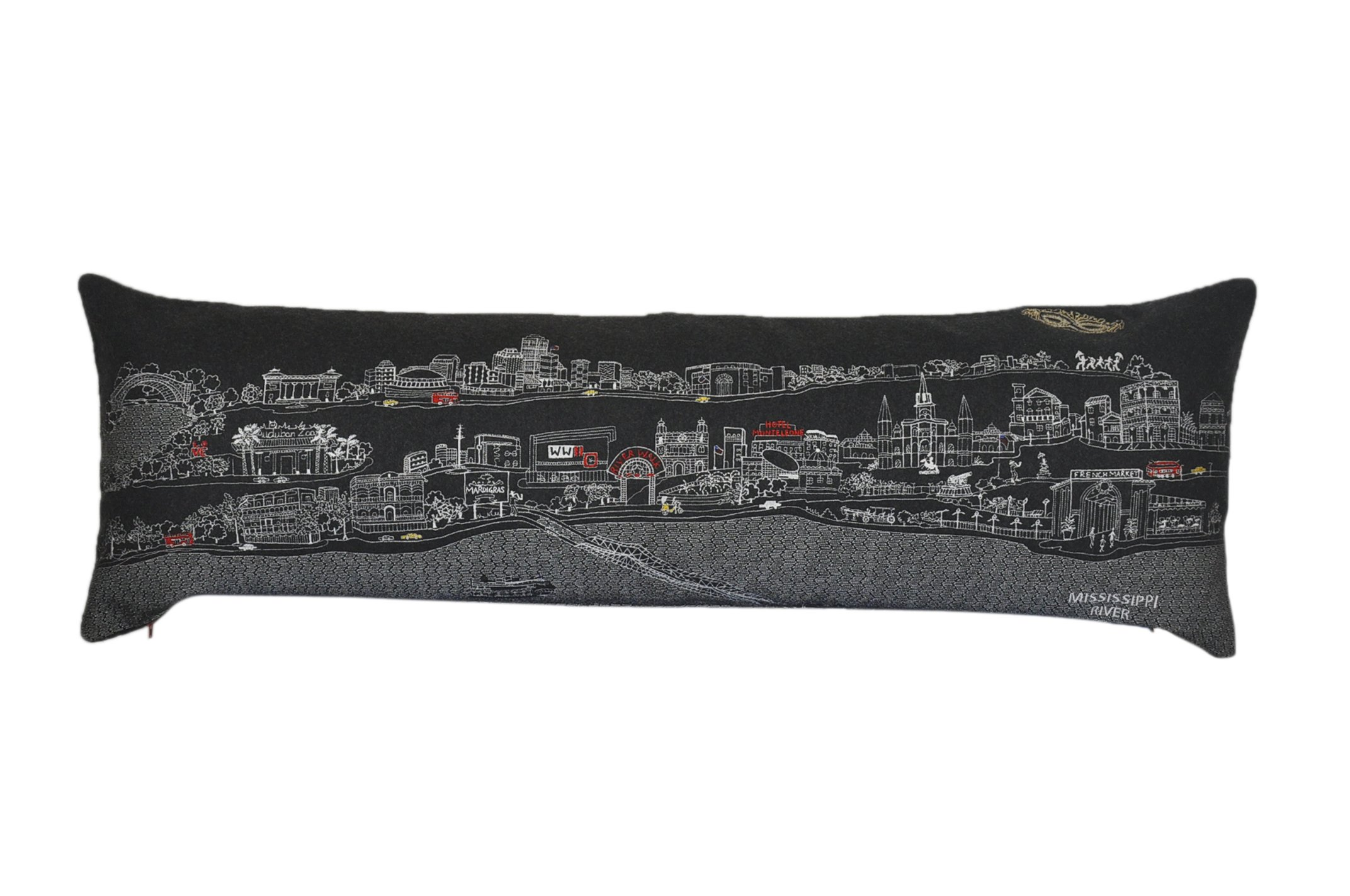 Beyond Cushions Polyester Throw Pillows Beyond Cushions New Orleans Night Skyline King Size Embroidered Accent Pillow 46 X 14 X 5 Inches Black