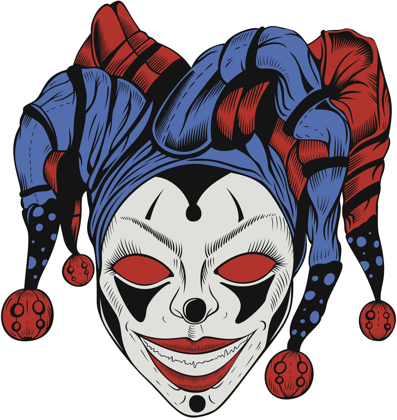 Amazon com creepy scary halloween jester joker clown skull cartoon 4 vinyl decal sticker 12 tall automotive