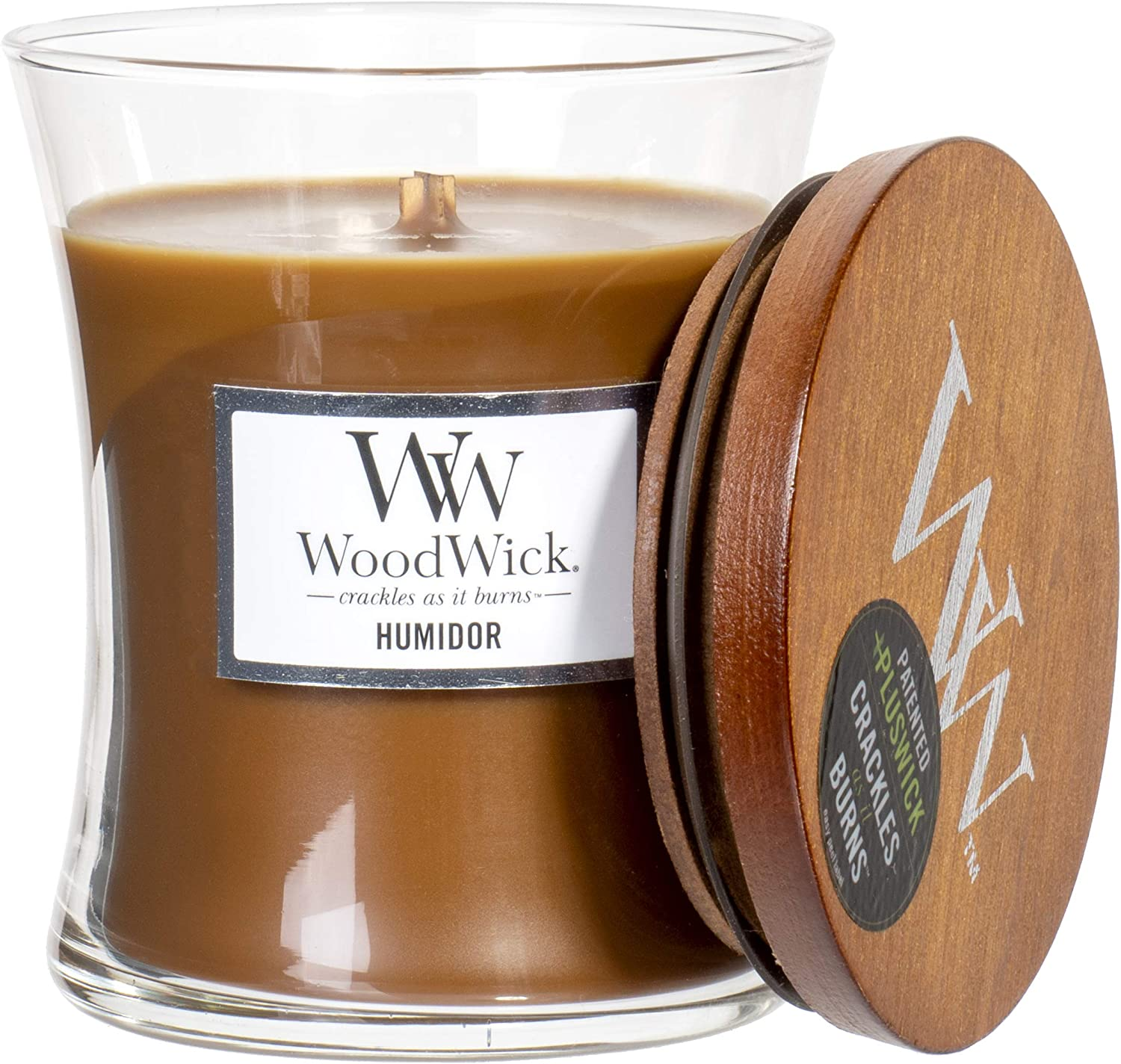 WoodWick Humidor Scented Hourglass Crackling Wooden Wick Candle in Clear Glass Jar, Medium - 9.7 Oz