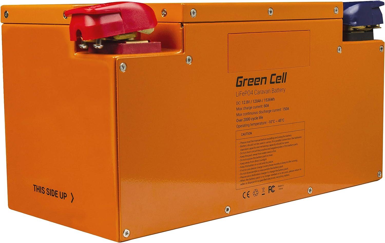 Green Cell® LiFePO4 Batería (120Ah 12.8V 1535Wh) Battery de Litio-Hierro-fosfato para Autocaravana, Botes y Carro de Golf fotovoltaico, Solar, Panel Solar, vehículos eléctricos