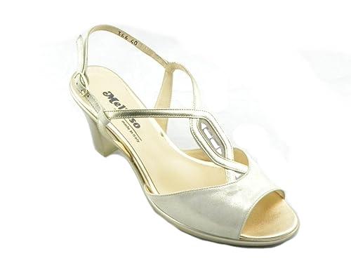 Melluso Sandalo Elegante Comodo Donna R50106 Platino 41  Amazon.it  Scarpe  e borse c2f6b42e39b