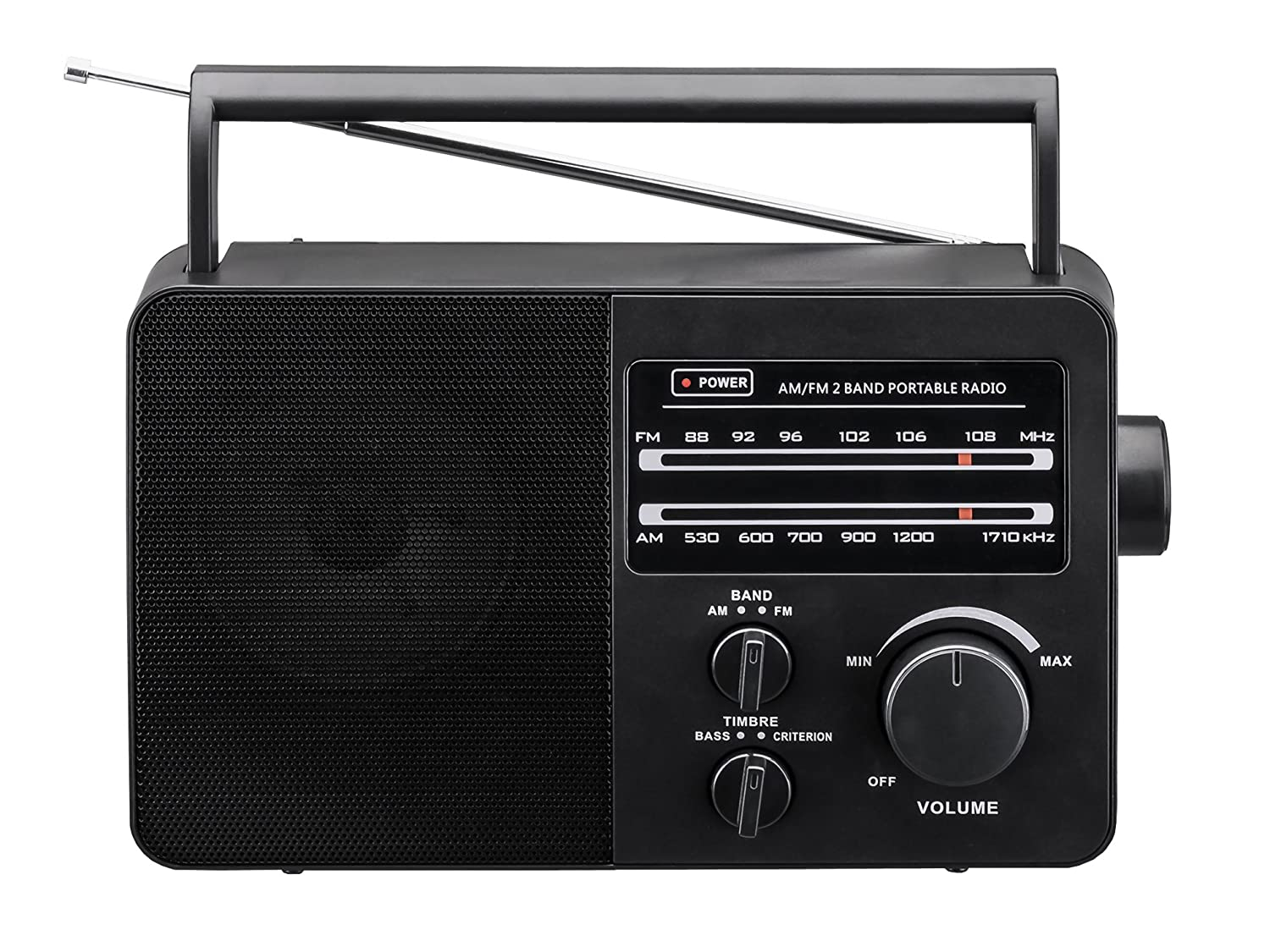 JP-1 AM//FM 2 Band Portable Radio AC operated or operated by dry battery black D Size x 4pcs, battery not included
