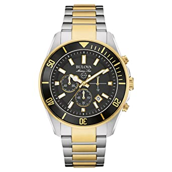 868859248 Image Unavailable. Image not available for. Color: Bulova 98B249 Marine Star  Two Tone Stainless Steel Chronograph ...