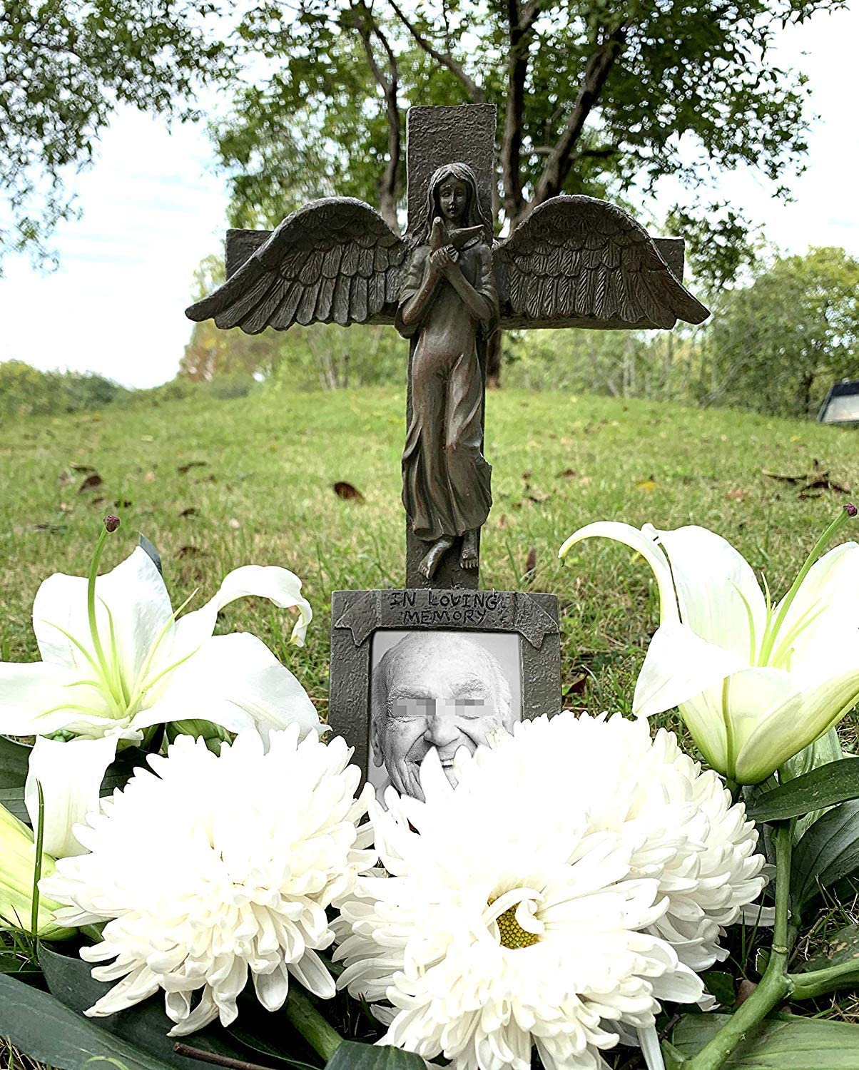 Automatically Lights Up at Night Angel Cemetery Decoration Grave Headstone Memorial BC INTER Solar Lighted Cross
