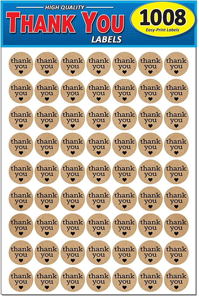 50 Thank You Stickers ~ Large 35mm Heart on Lovely Vintage Effect Kraft Paper
