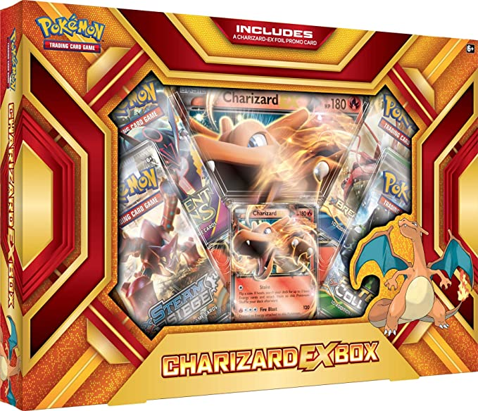 Pokemon Cards POK16CHAREXBX TCG: Charizard-EX Box Fire Blast Card Game, Multicolor