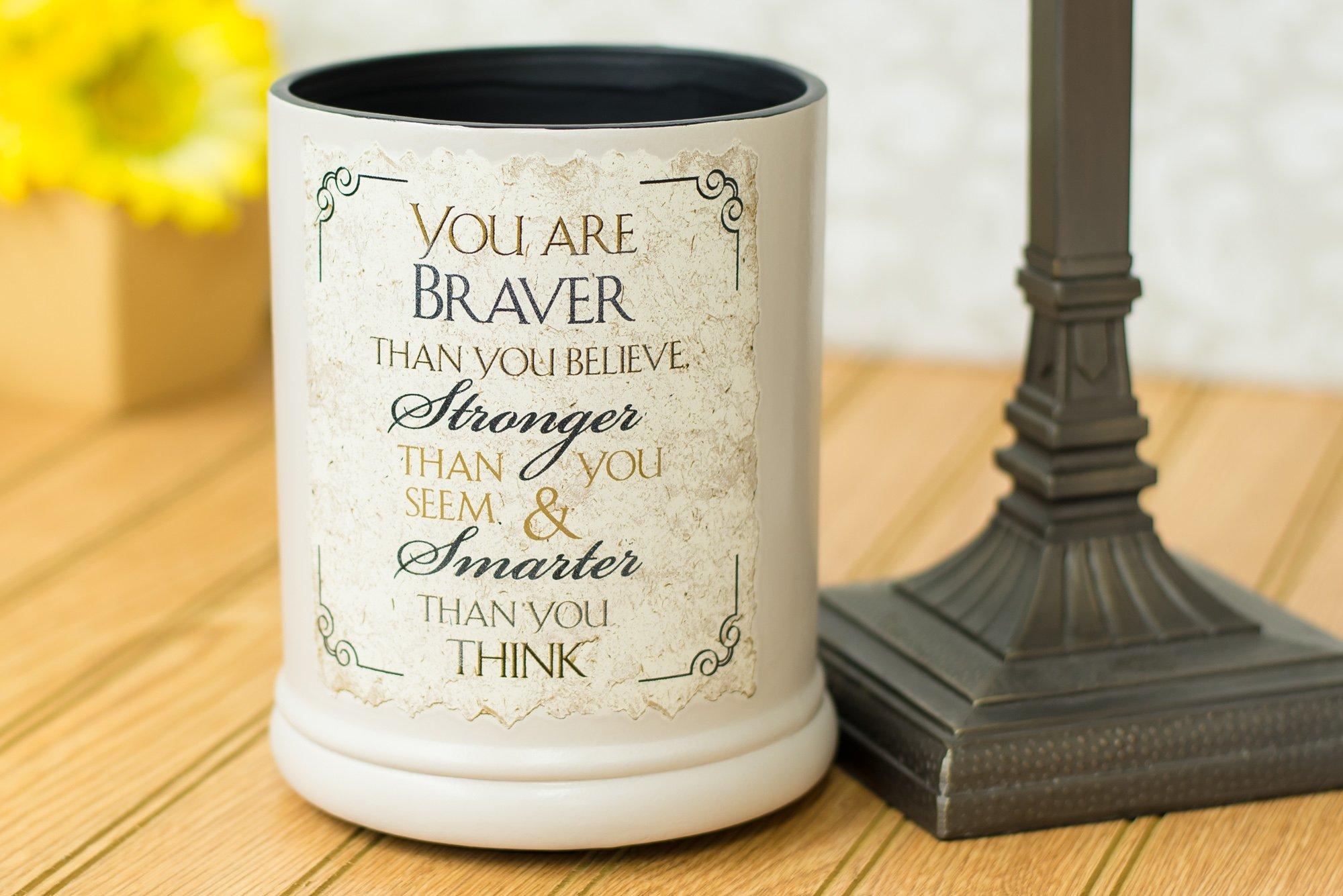 Elanze Designs You are Braver Stronger Smarter Ceramic Stoneware Electric Jar Candle Warmer by Elanze Designs (Image #2)