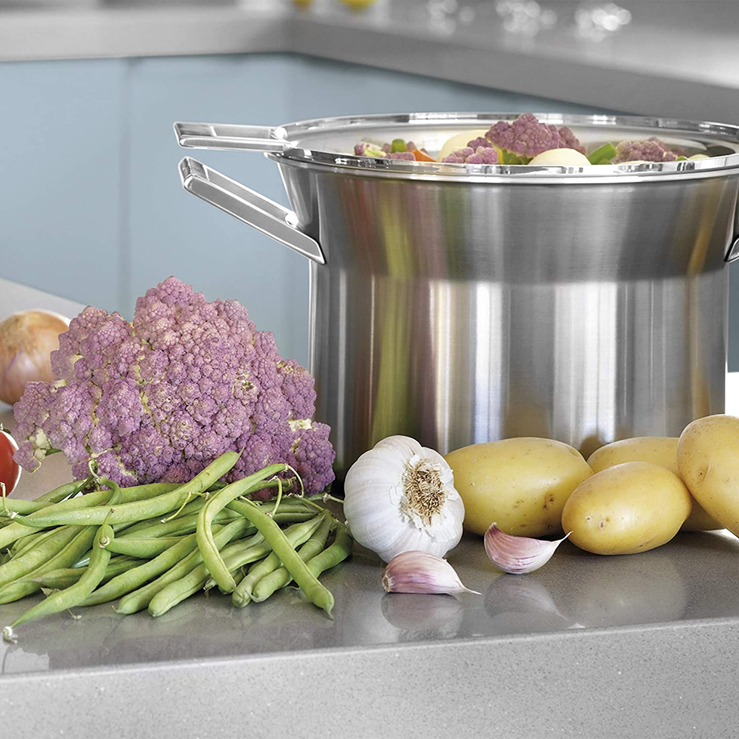 Castey 28 cm 3-Ply Stainless Steel 4-Piece Set including 8.75 Litre Stock Pot// 6 Litre Deep Casserole//Steaming Insert and Lid