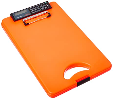 Saunders DeskMate II Plastic Storage Clipboard With Calculator, Letter Size  8.5 Inch X 12 Inch