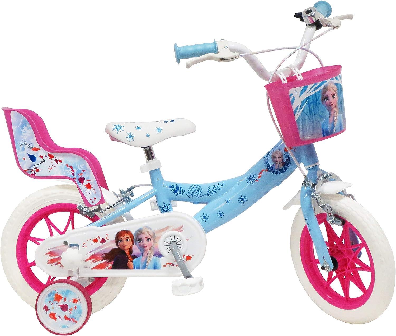 Disney 2 estabilizadores extra/íbles para ni/ña Cesta Delantera y portamu/ñecas Trasera Azul Cielo Bicicleta de 12 Pulgadas con 2 Frenos Blanco y Fucsia.