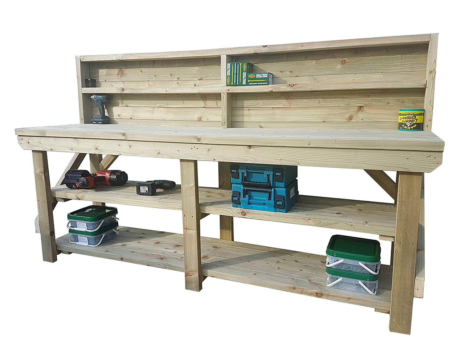 3FT Heavy Duty Handmade Garage Workshop Work Table Workbench With Double Shelf and Back Panel Indoor // Outdoor Pressure Treated