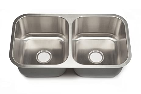 Clark Stainless SS039 32-Inch Undermount 50/50 Double Bowl ...
