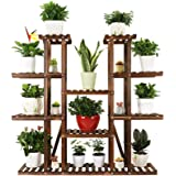 Ufine 9 Tier Wood Plant Stand Carbonized Flower Rack 17 Potted Organizer Tall Plant Display Shelf for Indoor Outdoor Patio Ga