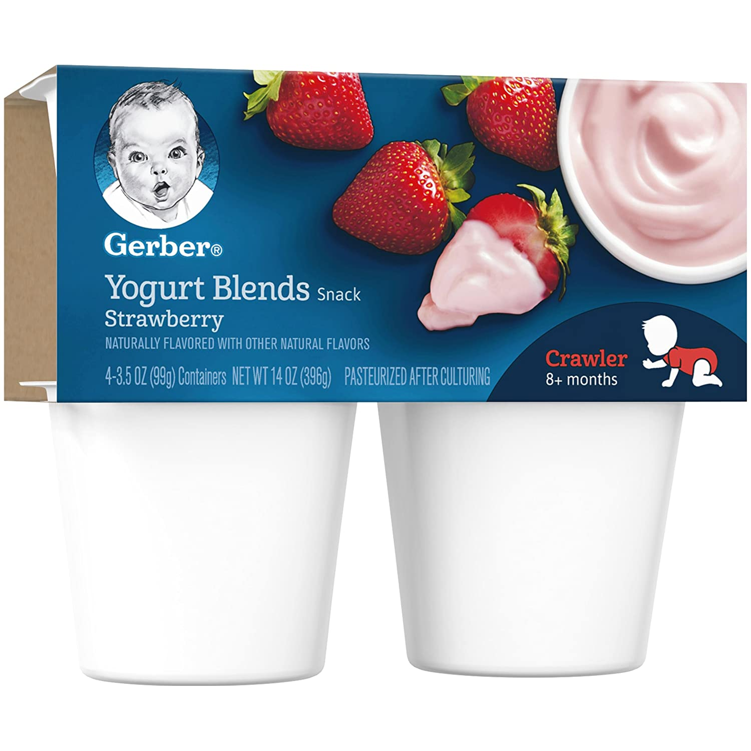 Gerber Yogurt Blends,Strawberry, 4-Count, 3.5-Ounce Cups (Pack of 6 ...