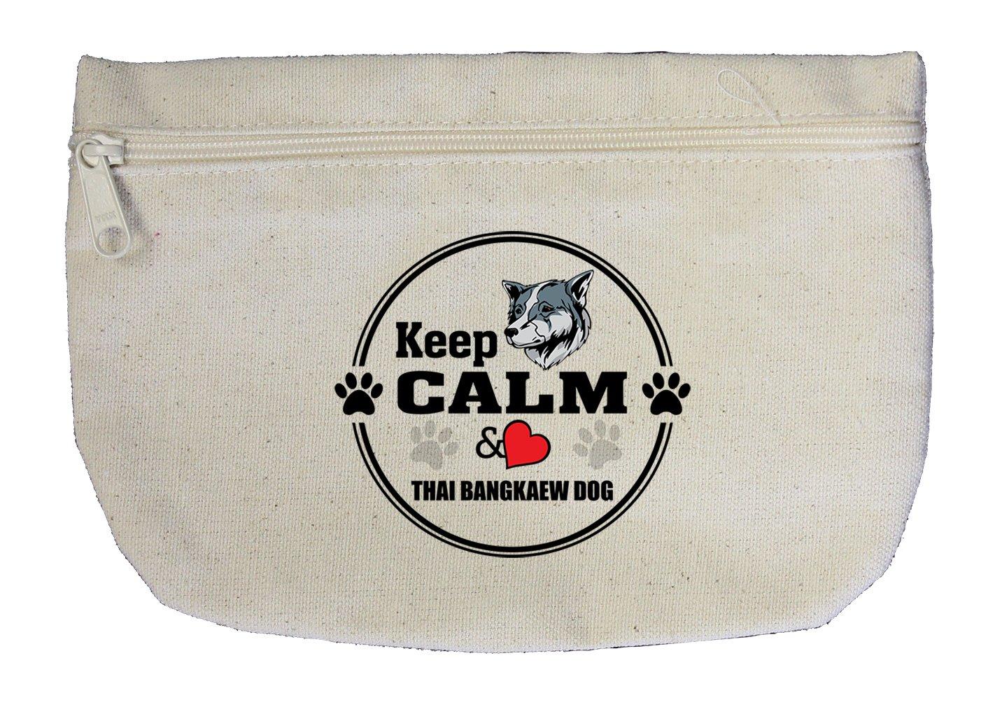 Canvas Zipper Pouch Bag Keep Calm Love Thai Bangkaew Dogdog Style In Print by Style in Print