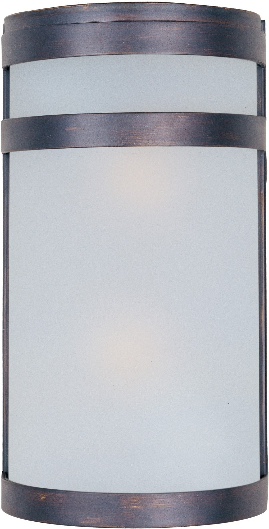 Maxim 5002FTOI Arc 2-Light Outdoor Wall Sconce Lantern, Oil Rubbed Bronze Finish, Frosted Glass, MB Incandescent Incandescent Bulb , 60W Max., Dry Safety Rating, Standard Dimmable, Glass Shade Material, Rated Lumens