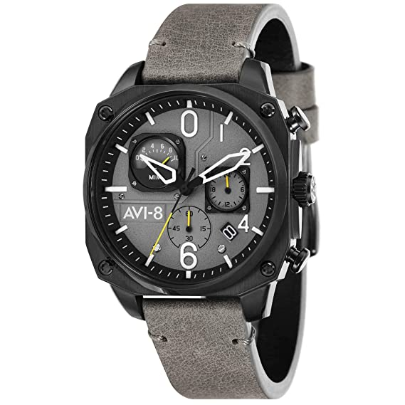 AVI-8 Hawker Hunter Reloj de Hombre Cuarzo 45mm Correa de Cuero AV-4052-03: Amazon.es: Relojes