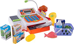 Hey! Play! Pretend Cash Register – Supermarket Playset Toy with Play Money, Credit Card and Food, Barcode Scanner and Microphone for Boys and Girls