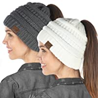 Exclusives BeanieTail Womens Beanie Ponytail Hat Messy Bun Skull Cap 2 Pack Bundle