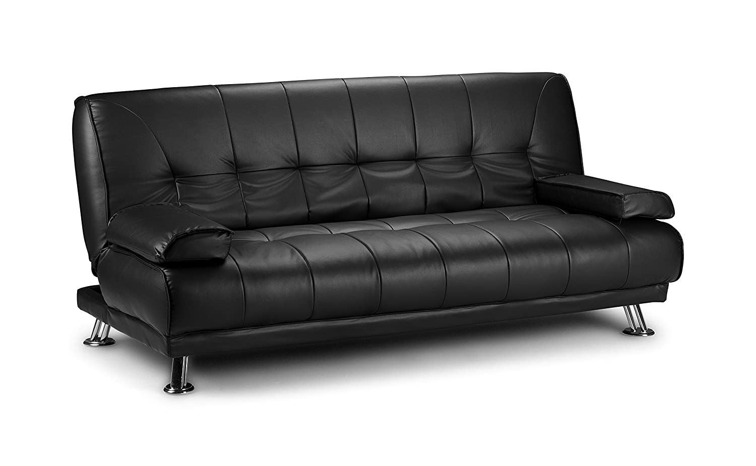 D & G Sofas VENICE CLICK CLACK FAUX LEATHER SOFA BED - BLACK, BROWN AND RED (Black) Express-furniture-warehouse