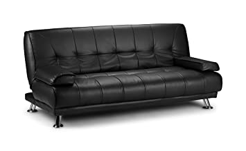 D & G Sofas VENICE CLICK CLACK FAUX LEATHER SOFA BED - BLACK, BROWN AND RED  (Black)