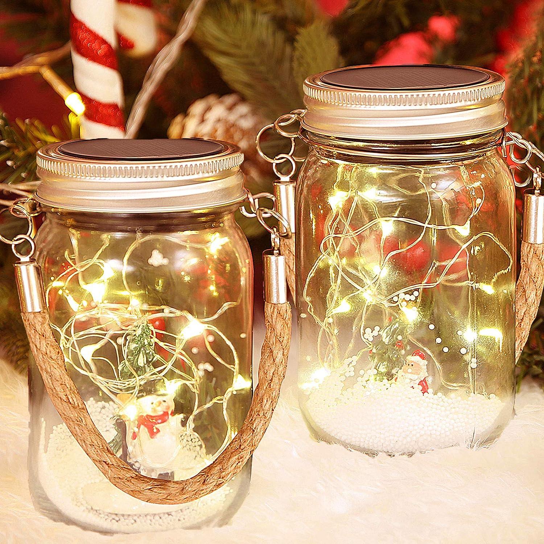 Christmas Solar Lanterns, 2 Pack Mason Jar Lights Outdoor with Snowman Santa LED Fairy Lights for Hanging Table Christmas Patio Garden Lawn Tree Home Landscape Decor