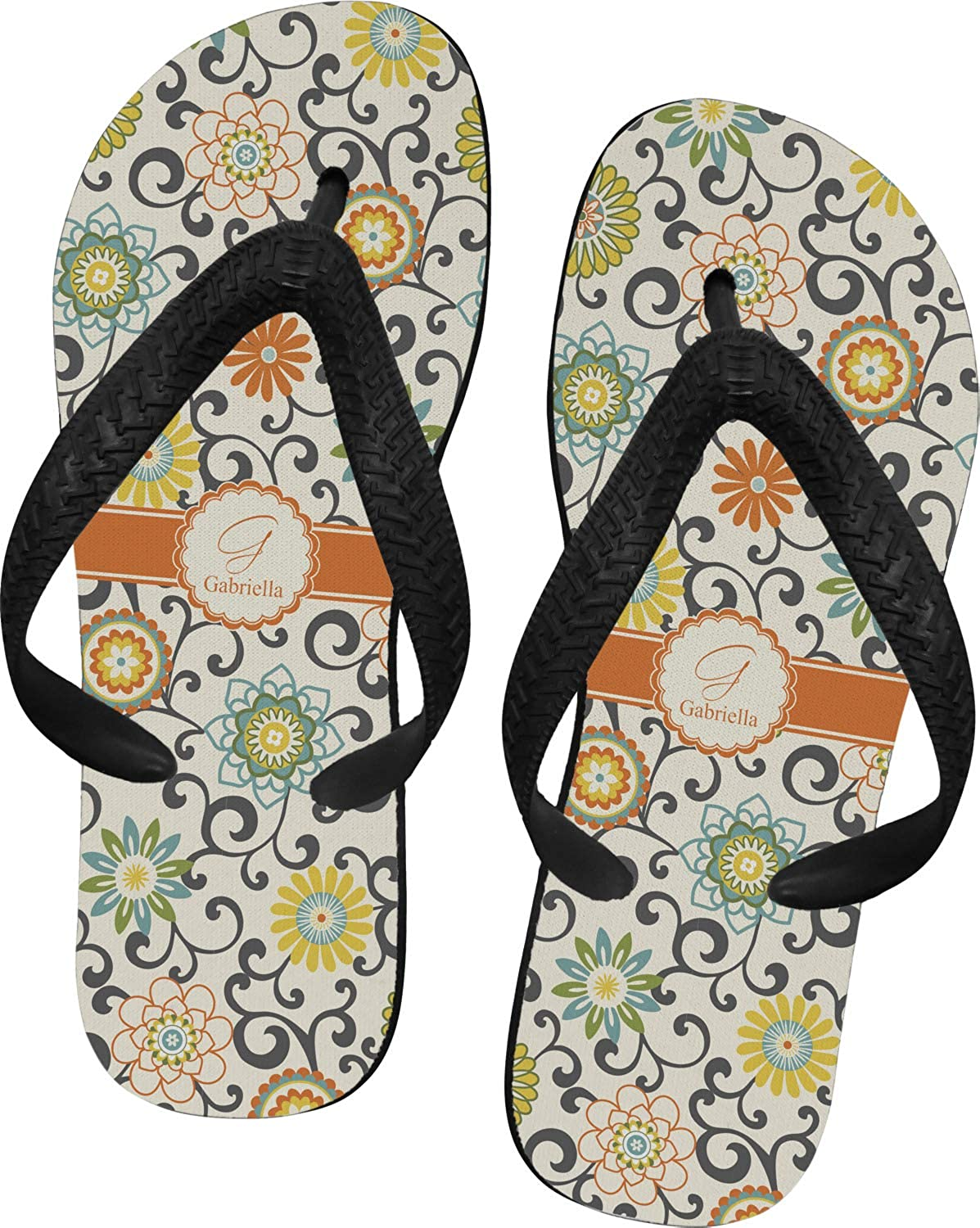 RNK Shops Swirls /& Floral Flip Flops Personalized